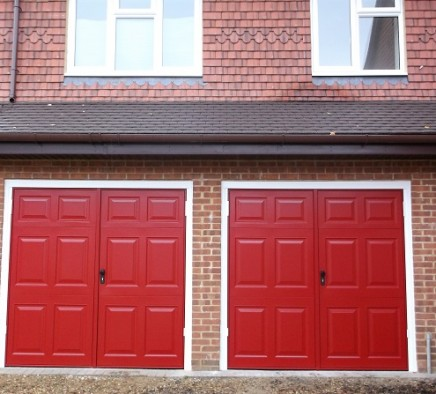 dual red garage door