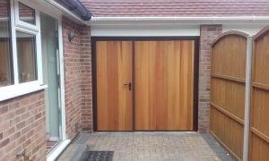 Garador Vertical Cedar Side Hinged garage doors